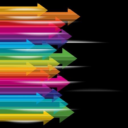 le déplacement flèches colorées transparentes sur fond noir Vecteurs