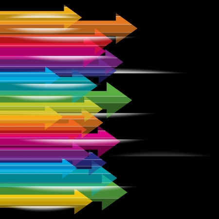 moviendo las flechas de colores transparentes sobre fondo negro Ilustración de vector