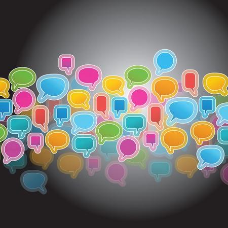 speech bubbles  on black background Stock Vector - 15685405
