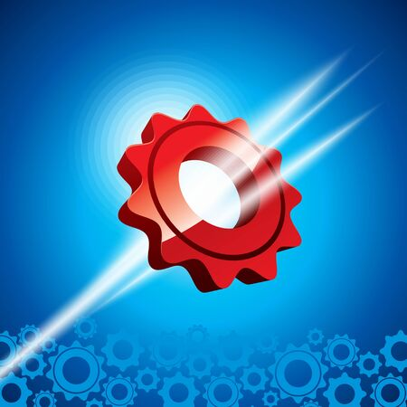 Gray and glowing red gears on blue background  Vector