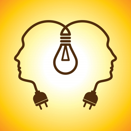 ideas problems: Human heads with Bulb symbol   Business  ; concepts