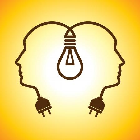 Menselijke hoofden met Bulb symbool Business; concepten Stock Illustratie