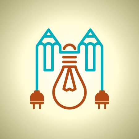 electric plug: bulbo con spina elettrica e matita Vettoriali