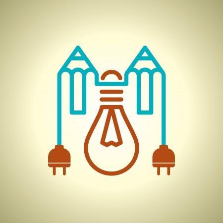 enchufe de luz: lámpara con enchufe eléctrico y un lápiz
