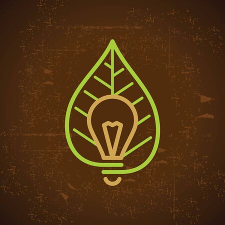 light bulb with leaf on grunge background Vector
