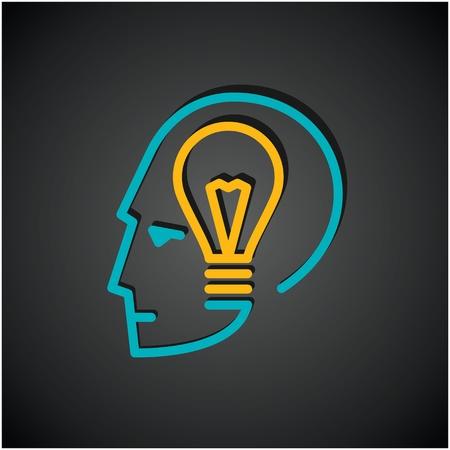 brain icon: Illustration of bulb  in human head Illustration