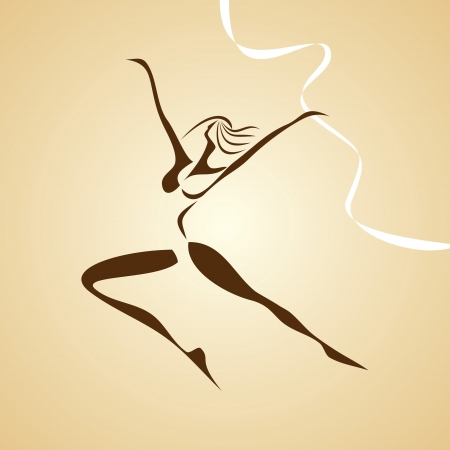 acrobat gymnast:  stylized illustration of dancing girl