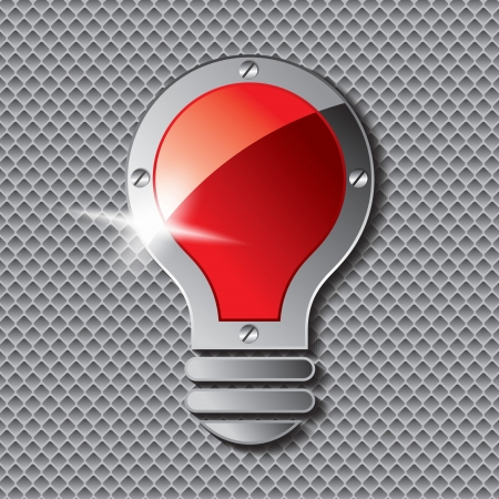 metal light bulb icon: Vector Light Bulb Icon metal plate