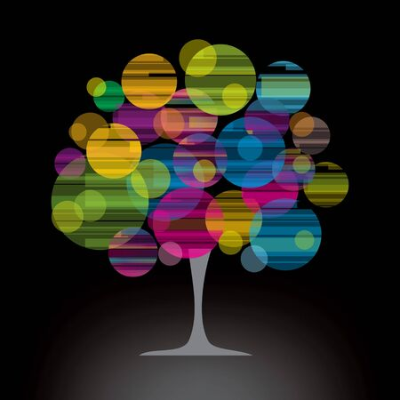bubbles tree with black background  Vector