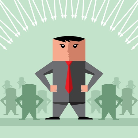follow the leader: Diverse business people human resources silhouettes follow a team leader  Illustration