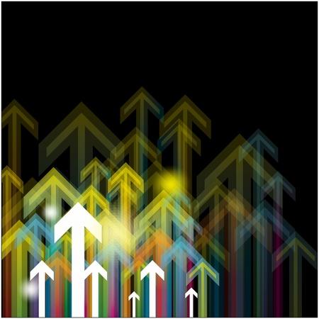 upward arrows in black background Stock Vector - 15641645