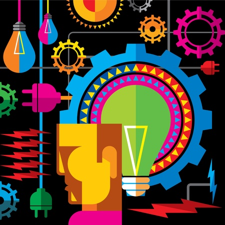 set of gears and bulb in black background Stock Vector - 15639324