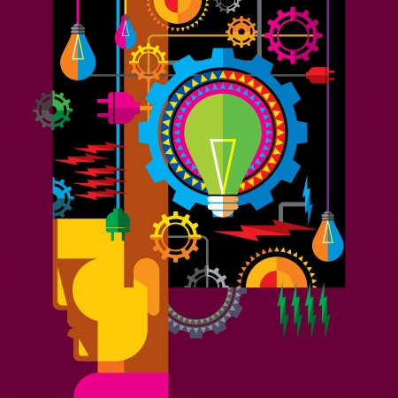 set of gears and electric light bulb Stock Vector - 15639328