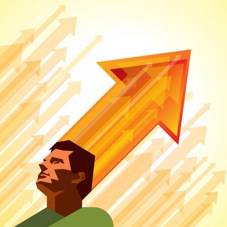 preferencia: Los pensamientos y las opciones - ilustraci�n vectorial de la cabeza con las flechas