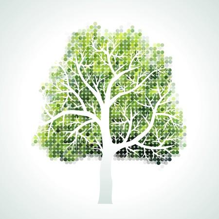 groviglio: mezzitoni albero con rami e foglie