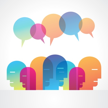 meet: a group of  people with talking bubble vector icon design
