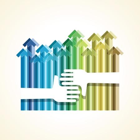 segítség: egy segítő kéz a sikerhez felfelé nyíl Illusztráció