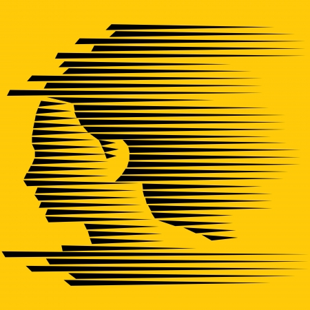 abstract young  face, black strip decorated  Vector