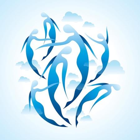 freedom woman: girls dancing stylized silhouette