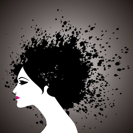 black hair girl: beautiful girl face silhouette with black hair splashes