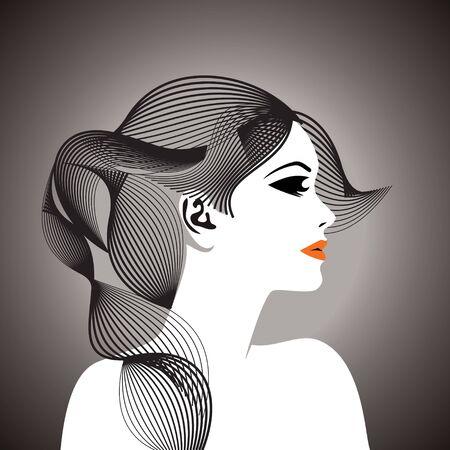 pelo ondulado: mujer hermosa con el pelo ondulado