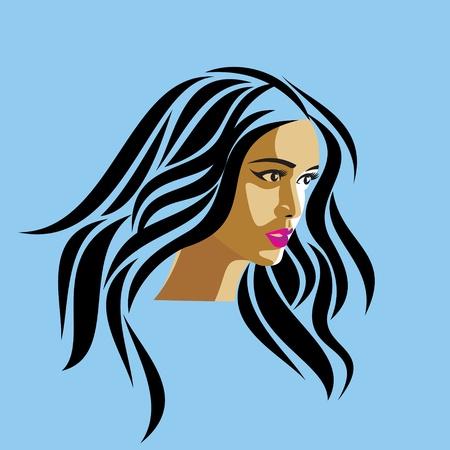 glamor girl on blue background Vector