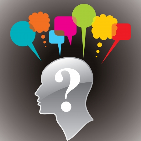 doubt: human head with question mark symbol doubt concept and thought bubble Illustration