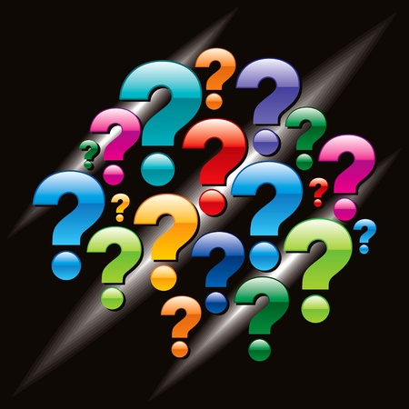 question icon: question mark with black background Illustration