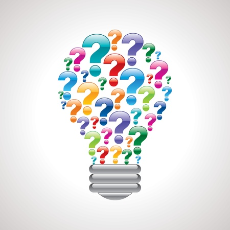 question and answer: colorful query mark light bulb