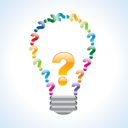 question answer: colorful query mark light bulb