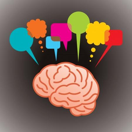 観察: 思考ヘッド音声バブル、社会的なネットワー キング  イラスト・ベクター素材
