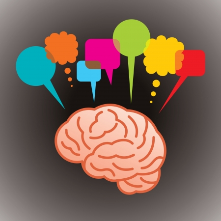 thinking head speech bubble, social networking Vector