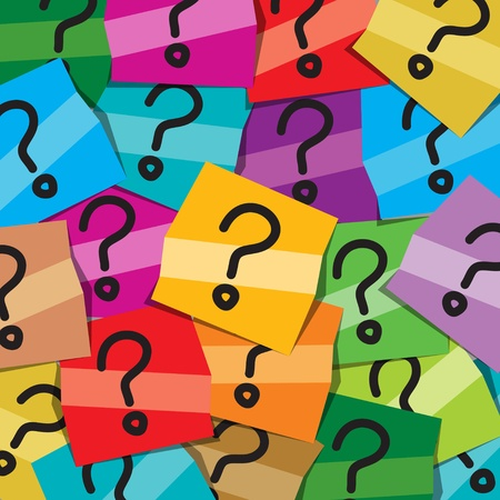 punto interrogativo: Molte note adesive con domande tutte pubblicate su una scheda nota ufficio per rappresentare la confusione
