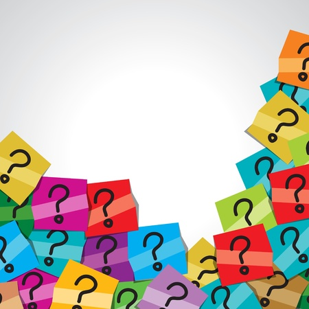 questions: colorful question mark tag