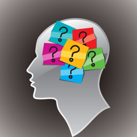 human head with question mark Stock Vector - 16096708