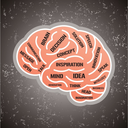 mind body: vector illustration with brain and think