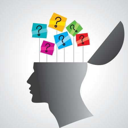mente humana: cabeza humana con signo de interrogaci�n Vectores