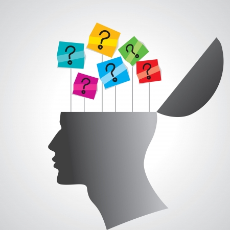 human mind: cabeza humana con signo de interrogaci�n Vectores