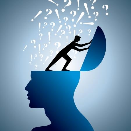 conceito: pergunta símbolo e cabeça do homem Ilustração