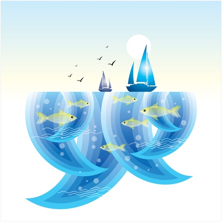 little fishes in the sea Vector