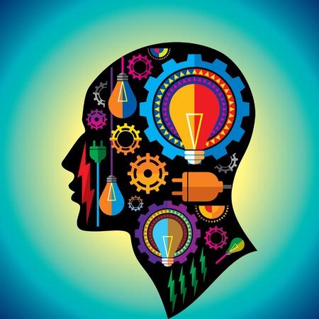 bright ideas: set of gears and bulb inside man head Illustration