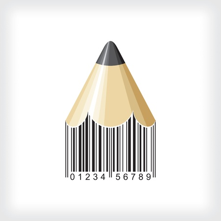 bar code: pencil bar code vector Illustration
