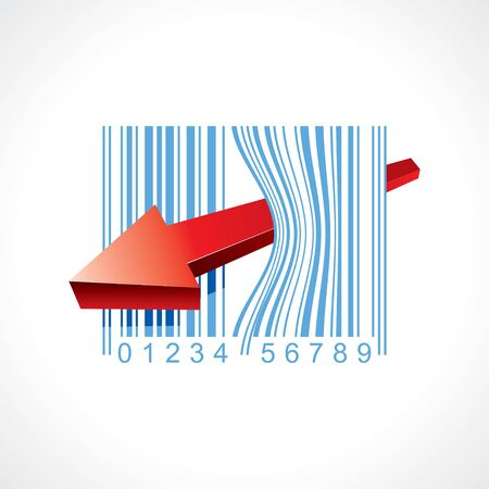 bar code illustration with arrow  Vector