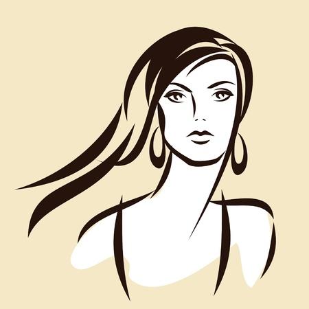 beauty face girl vector Vector