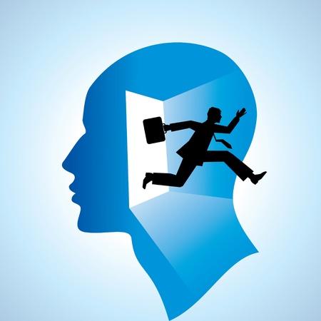 actividad fisica: ejecutar volar hombre con la bolsa de la puerta abierta