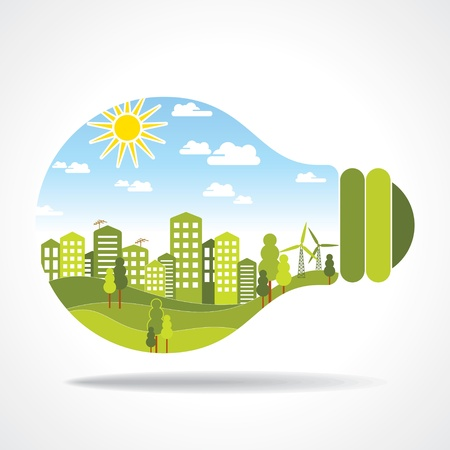 green buildings: city inside of light bulb Illustration