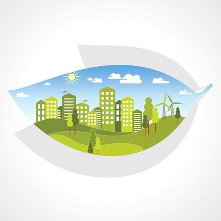 cíclico: ciudad verde en el interior de la hoja