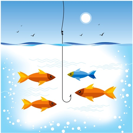 fishing the gold fish hunting Vector