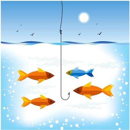 la pêche à la chasse des poissons d'or