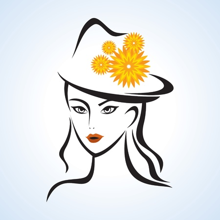 beauty face girl with hat Vector